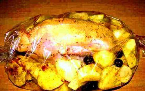 Утка с яблоками в пакете для запекания в духовке пошаговый рецепт с фото