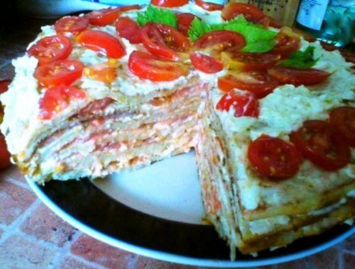 Пирог из кабачков с помидорами и сыром
