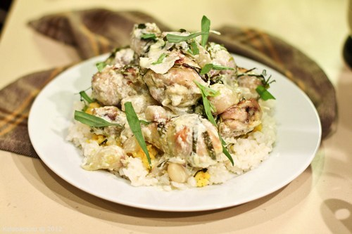 Курица со сливками на сковороде